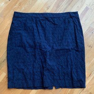 J Crew Navy Blue Eyelet Pencil Skirt Size 20